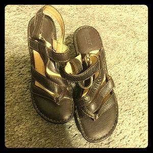 BORN Brown Leather Cushioned Wedge Sandals